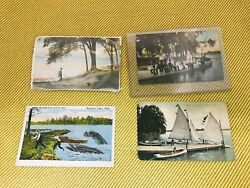 4 Early Buckeye Lake Ohio Postcard Sail Boats ~ Fisherman ~ Sea Walk Beach