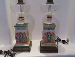 1900s Hand Painted Capodimonte Victorian Lamps 12 Figures of Soldiers amp; Women $700.00