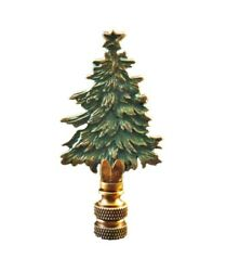Holiday Christmas Lamp Finial TREE Antique Brass Green Finish AB Base FS $14.59