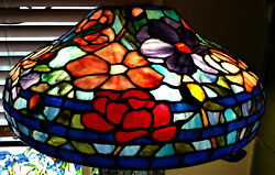 Tiffany Reproduction Lamp Shade 18quot; Pink Purple Peony Stained Glass Odyssey $1021.00