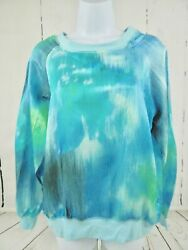 Robert Kitchen Canada New Turquoise Blue Water Color Silk Blend XL Ladies Shirt $34.95
