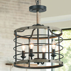 Mini French Country Antique Chandeliers 4 Light Pendant Cage Drum Lighting Home $165.99