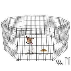 8 Panel Pet Playpen Metal Protable Folding Animal Exercise Dog Fence 24quot; Kennel $30.99