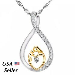 Mother and Child Necklace Mom Daughter Son Infinity Heart Love Pendant CZ N70