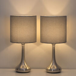 2 Sets PCS HAITRAL Table Lamp Modern Desk Bedside Lights Fabric Shade Metal Base $33.90