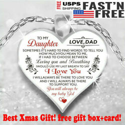 To My Dear Daughter Love DAD Luxury Heart Shape Necklace Anniversary Xmas Gift