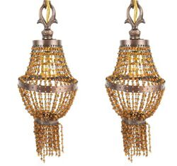 BOHEMIAN BEADED CHANDELIERS Vintage Brass amp; Copper Electric Wall Plug In Pair $149.95