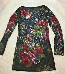 SEQUIN MINI DRESS HOLIDAY NEW YEARS COCKTAIL long sleeve BLACK FLORAL BOHO LUX
