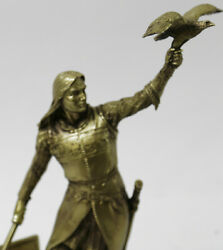 Bronze Effect Gorgeous Man Falconer with Eagle Home Office Decoration Artwork