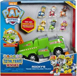 Paw Patrol Rocky's Total Team Rescue Recycling Truck with 6 Pups for Kids Age 3+