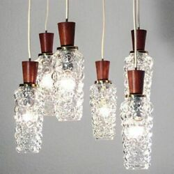 Vintage Limburg Pendant Lamp Helena Tynell Bubble Glass Shades with Teak Top 60s