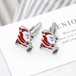 Silver Christmas Santa Claus Cufflinks Business Wedding Formal for Suit Formal GBP 5.99