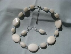 Hand Made Soapstone and Swarovski Crystal Necklace and Earrings Handmade  [9204]