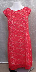 Oasis Size 10 Red Knee Length Lacey Party Dress Short Sleeves Shift GBP 16.99