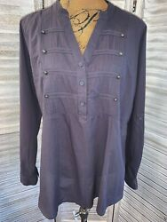 Torrid Dark Gray Military Poplin Blouse Top Sz 1X Cotton Long Sleeve EUC