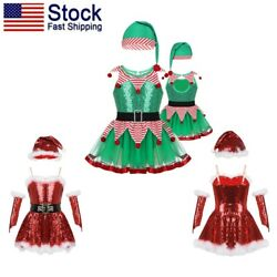 US Kid Girl Christmas Sequins Dancing Dress Xmas Skating Leotard Costume Skirts