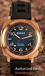 NEW BOREALIS NAVALE BRONZE Fumed Blue Dial Fixed Bezel DIVER 300M Watch WARRANTY $400.00