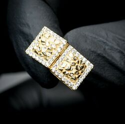 Mens Small Square Iced Cz 14K Gold 3D Nugget Hip Hop Stud Screw Back Earrings $23.39
