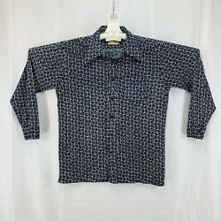 """Vintage 1970's Sears Wide 4.5"""" Collar Long Sleeve Polyester Shirt Men#x27;s XL $48.99"""
