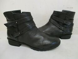 Kenneth Cole Reaction Clo-ver Black Leather Zip Ankle Boots Womens Size 8.5 M