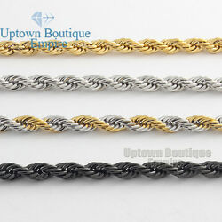 Men Women Stainless Steel 2mm 3mm 4mm 5mm Diamond Cut Rope Chain Necklace $9.73