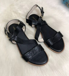 COLE HAAN Black Leather Strappy Criss Cross Sandals Size 9 Flats Women's