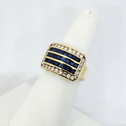 Solid 18K Yellow Gold 3.0 Carat Sapphire and Diamond Ring Size 7 8.8 grams $789.00