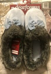 Dearfoams Baby Blue Velvet Slippers Faux Fur Bow With Rhinestones XL NIP $18.00