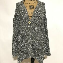 Pure JJill Size Large One Button Cardigan Sweater Black White Gray Oversized
