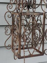 Vintage Large Rustic wrought Iron Hanging  Cage Style. Light Fixture (needs TLC)