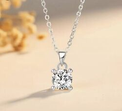 925 Silver Plated 2 carats Round Solitaire Cubic CZ Pendant Necklace N108 $8.99