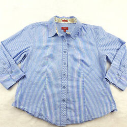 Talbots Petite Size 10P Stretch Poplin Button Up Blouse Blue Striped 34 Sleeve