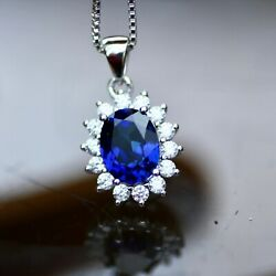 Created Sapphire Pendant Sterling Silver 925  September Birthstone  5th 45th A