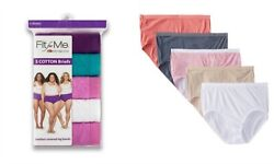 Fruit of the Loom Fit For Me 5 Pack Cotton Tagless Brief Women's Sz 12 New Pack $10.95