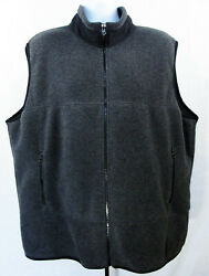 Lands End Mens Polartec Fleece Vest Size 2XL Big Charcoal Gray Full Zip Pockets