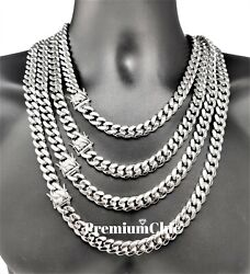 Mens Miami Cuban Link Chain SOLID Stainless Steel Necklace or Bracelet Jewelry $25.99