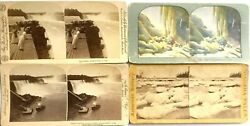 ANTIQUE NIAGARA FALLS STEREOSCOPIC 4 CARD LOT STEREOVIEW PHOTOGRAPHIC 3 D IMAGES $22.99