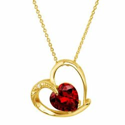 Heart Pendant with Red Cubic Zirconia in 18K Gold-Plated Brass 18