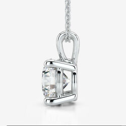 ROUND DIAMOND NECKLACE CERTIFIED SOLITAIRE WEDDING 1.5 CT 14K WHITE GOLD ESTATE