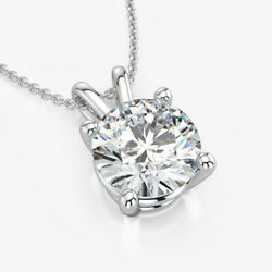 FLAWLESS NECKLACE ROUND DIAMOND SOLITAIRE ESTATE VS1 14 KT WHITE GOLD NEW 1.5 CT