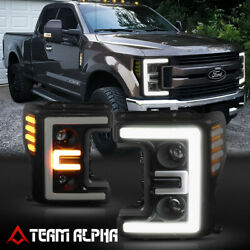 Fits 2017-2020 Super Duty {DUAL LED E-BAR} Black/Smoke/Amber Projector Headlight $399.89