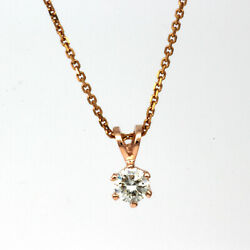 NECKLACE ROUND DIAMOND ESTATE GENUINE 6 PRONG WOMENS WEDDING 18 KT ROSE GOLD RED