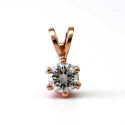 ROUND BRILLIANT DIAMOND NECKLACE 1.05 CARATS WOMEN SI2 D 18 KT ROSE GOLD RED