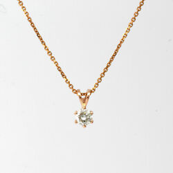 SIX PRONG NECKLACE ROUND CUT DIAMOND 1.6 CT WOMEN APPRAISED 18K ROSE GOLD RED