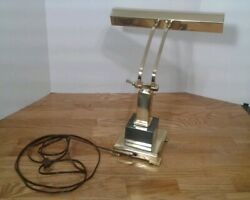 Vintage Brass Piano Lamp Adjustable Arm Bankers Desk Lamp With Marble Base
