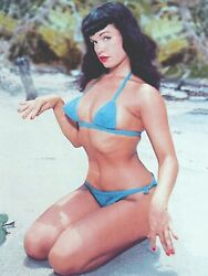 Bettie Page Blue Bikini on Beach 18 x 24 Poster FREE SHIPP #1023 $10.99