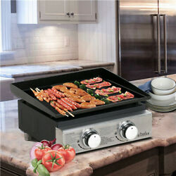 BIG HORN OUTDOORS 18 Inch Portable 2 Burner Propane Gas Grill Griddle Camping $85.90