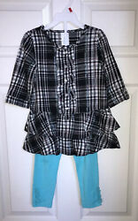 Wonder Kids 2 Piece Girls Black Outfit with Turquoise Leggings Toddler 4T NWOT $8.95