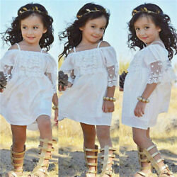 Toddler Baby Girls Lace Off shoulder Tutu Dress Party Holiday Beach sundress