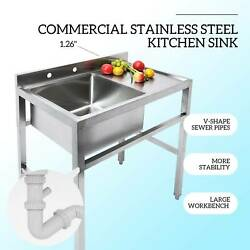 1 Compartment Stainless Steel Commercial Utility Drain Board Kitchen Prep Sink $255.99